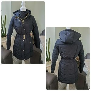bebe long quilted double zipper belted jacket